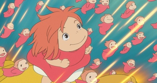 Ponyo and friends sore through the sea